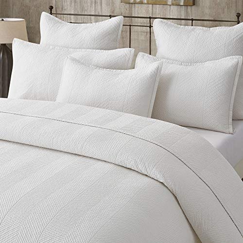 - Calla Angel Evelyn Stitch Chevron Pure Cotton Quilted Pillow Sham 20 x 26, Ivory, Standard
