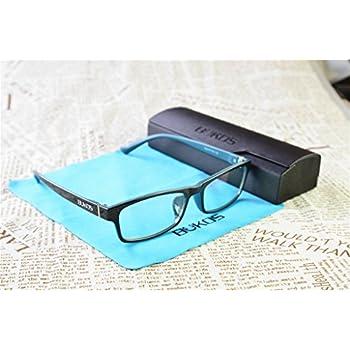 Blue Light Blocking Glasses by Bukos - Unisex - Men or Women - FDA Approved - Custom Black / Blue Color! - Reduce Eyestrain / Headaches - Computer / Gaming Glasses