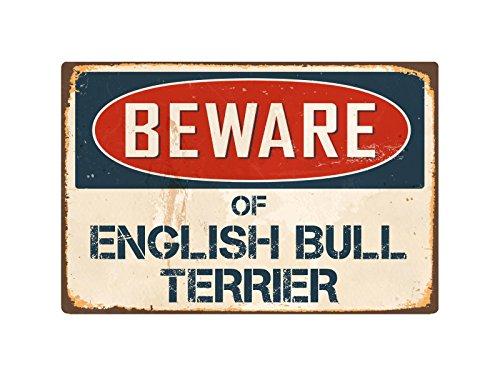 "StickerPirate Beware Of English Bull Terrier 8"" x 12"" Vintage Aluminum Retro Metal Sign VS158"