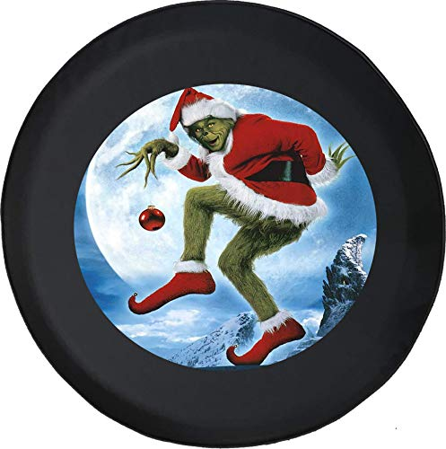 (556 Gear The Grinch Holding Red Christmas Ball Ornament Winter Holiday Jeep Spare Tire Cover Black 33 in)