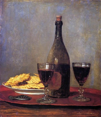 Albert Anker Still Life: Two Glass of Red Wine, a Bottle of Wine; a Corkscrew and a Plate of Biscuits on a Tray - 20.05