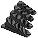 Home Premium Rubber Door Stop - Large Door Stopper Wedge, Multi Surface Design (4 Pack, Black)