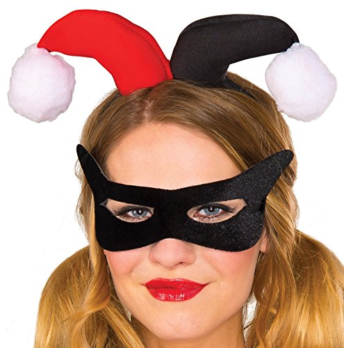 Harley Quinn Mask (Rubie's Women's Dc Comics Harley Quinn Eye Mask and Headpiece, Green, One Size)