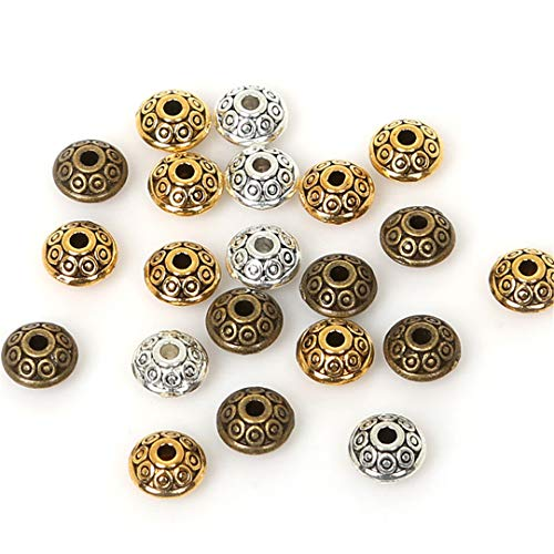 50Pcs Dia. 6Mm Tibetan Metal Beads Antique Gold Silver Oval Shape Loose Spacer Beads For Jewelry Making DIY Bracelet Charms Mixed - Pearl Sandstone Antique Pearl
