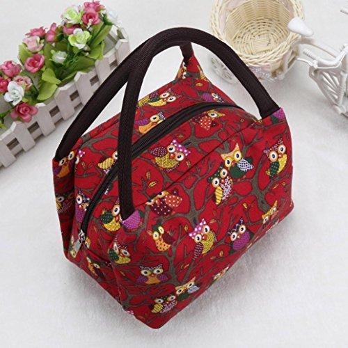 LtrottedJ Owl Thermal Insulated Tote Picnic Lunch Cool Bag Cooler Box Handbag Pouch (Red)
