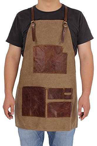 (vintage crafts Canvas Leather Welding Tool Chef Kitchen Bib Apron with Pockets Professional Grade Chef Apron for Kitchen, BBQ, and Grill)