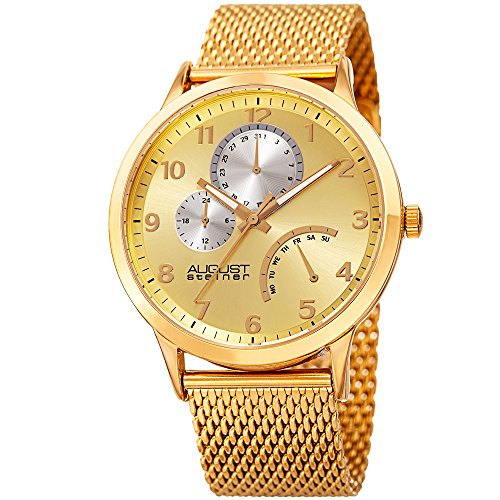 August Steiner Men's Quartz Stainless Steel Casual Watch, Color:Gold-Toned (Model: AS8230YG) ()