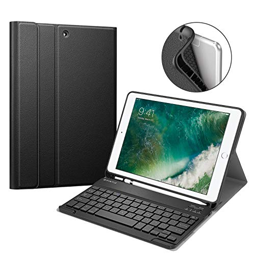 Fintie iPad 9.7 2018 Keyboard Case with Built-in Pencil Holder, [SlimShell] Soft TPU Back Protective Stand Cover with Magnetically Detachable Wireless Bluetooth Keyboard for Apple iPad 6th Gen, Black (Ipad Cover For Wireless Keyboard)