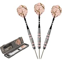 Fat Cat Realtree APC Pink Camo Steel Tip Darts with Storage/Travel Case, 23 Grams