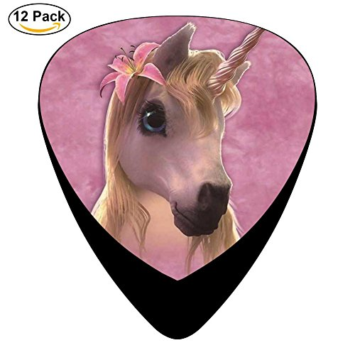 Cutie Pie Unicorn Celluloid Guitar Picks 12 Pack Includes Thin,Medium,Heavy Gauges For Electric Acoustic Guitar
