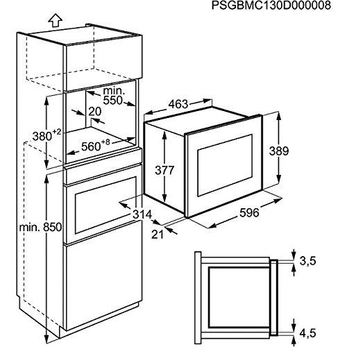 Microondas Integrado, 20 L, 800 W, Giratorio, Acero inoxidable, LCD Electrolux EMM20007OX Integrado 20L 800W Acero inoxidable
