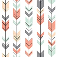 Fletching Arrows Fabric - Fletching Arrows Small Scale Coral,Grey,Mint,Peach by littlearrowdesign - Fletching Arrows Fabric with Spoonflower - Printed on Basic Cotton Ultra Fabric by the Yard