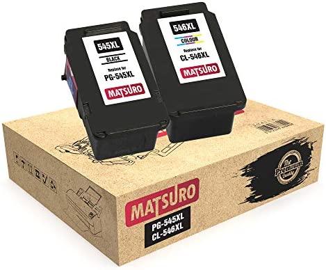 Matsuro Original | Compatible Remanufactured Cartuchos de Tinta Reemplazo para Canon PG-545XL CL-546XL PG-545 CL-546 (1 Set)