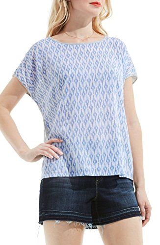 Two by Vince Camuto Womens Sheer Printed Front Casual Top Blue (Vince Sheer)