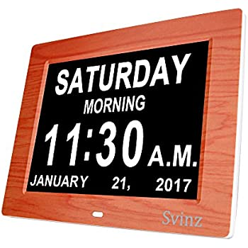 SVINZ 3 Alarms Dementia Clock, 2 Auto-Dim Options, Large Display Digital Calendar Day Clock for Vision Impaired, Elderly, Memory Loss, Wood Grain, SDC008W