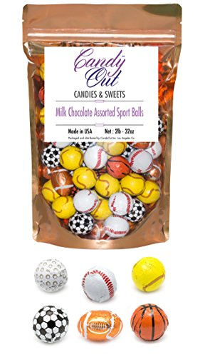 Candyout Chocolate Assorted Sport Balls 2 Pounds - Foil Wrapped Chocolate Candy in Sealed Bag (Chocolate Sports Balls)