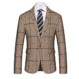 MAGE MALE Men's Casual Blazer Slim Fit Plaid One Button Business Suit Jacket Sport Coat Khaki