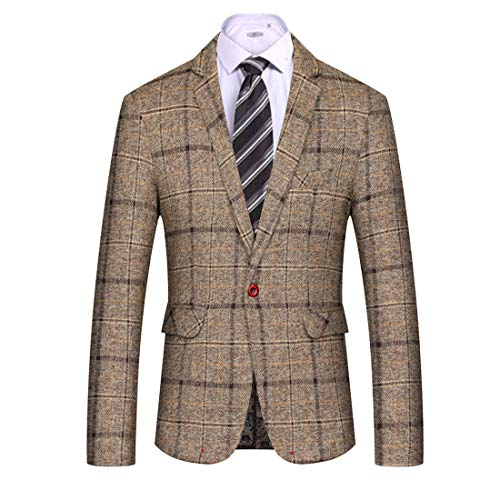 MAGE MALE Men's Casual Blazer Slim Fit Plaid One Button Business Suit Jacket Sport Coat (Khaki, XXL) ()