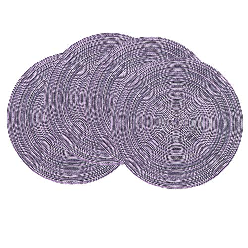 SHACOS Round Placemats Set of 4 Round Table Placemats Braided Cotton Place Mats 15 inch for Kitchen Dining Table Holiday Party (Light Purple, 4)