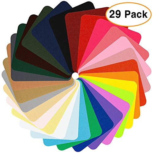 Augshy 29 Pieces Iron On Patches for Clothing Jeans, 26 Colors,4.9 x 3.7 Inch