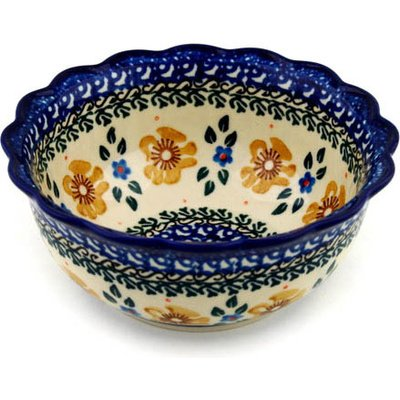 Polish Pottery Bowl 6-inch Sea Fall Yellow Flowers (Yellow Flower Bowl)