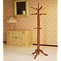 Frenchi Home Furnishing Traditional Spinning Top Wooden Coat Rack, Oak