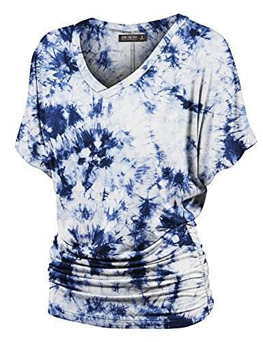 86ecdf1ba32 LL Womens Short Sleeve Heart Shape Tie-Dye Ombre Dolman Top ...