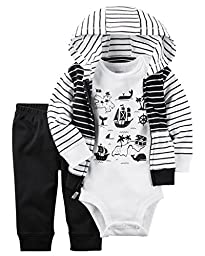 Carter\'s Baby Boys 3-Piece Map bodysuit And Cardigan Set 6 Months