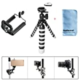 Fantaseal Robust Octopus Mini Tripod 2-in-1 Camera + Cellphone Flexible Tripod Outdoor Tripod Table Desk Tripod Travel Portable Tripod Stand Smartphone Mobile Phone Kickstand Cradle Holder Selfie Tripod w/ Cellphone Clip (UP to 5.5' Screen) Compatible for Nikon Canon Pentax Sony Panasonics Olympus Camera / Camcorder + iPhone X/ 8+/ 8/ 7+/7 iPhone 6S+/6S iPhone 6+/6 iPhone 5/5C/4S/4 iPhone SE Nexus LG HTC Huawei ZTE Sony etc Smartphone + Trail Camera