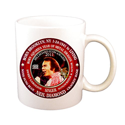 Neil Diamond Singer Cup/Mug, Astrology Aquarius Zodiac Metal Dragon