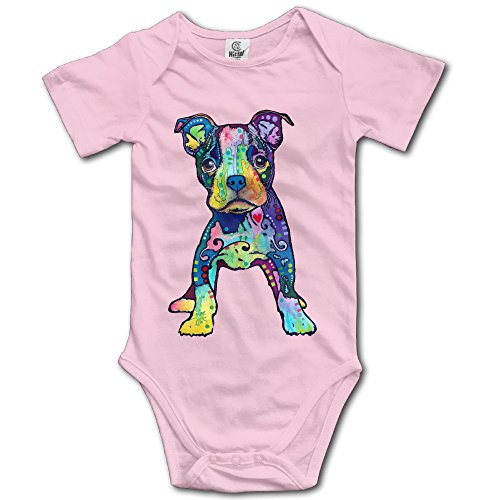 [Infants Boy's & Girl's Puppy Graffiti Pop-Art Rainbow Colors Short Sleeve Bodysuit Outfits For 6-24 Months Pink] (Pop Art Girl Costume Outfit)