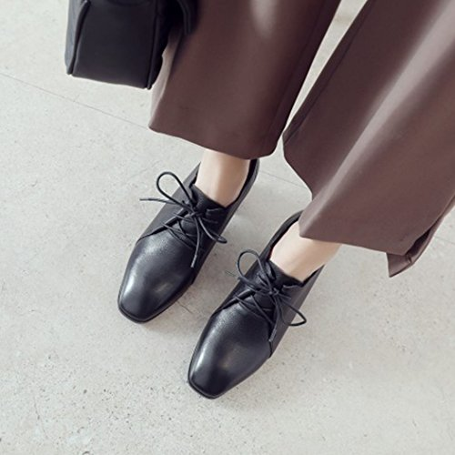 Work Black GAOLIXIA Mid High Pumps High Womens Boots Shoes up Leather Size 38 Seasons Shoes Four Smart Court Heeled Casual Shoes Heel Comfort Lace Color Ladies Shoes TSrq8wxT