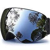Hongdak OTG Ski Goggles, Snowboard Goggles UV Protection, Snow Goggles Helmet Compatible, Frameless Outdoor Goggles, Over Glasses Ski Goggles for Boys Girls Men and Women, Anti-fog Lens