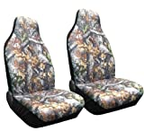 Set of 2 Camo Forest Front Seat Covers High Back Bucket Camouflage Saab