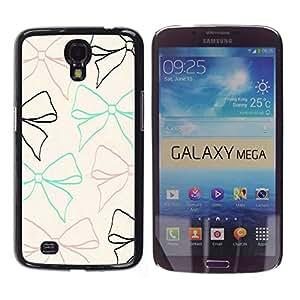 Bow lazo del modelo beige del trullo Brown Negro - Metal de aluminio y de plástico duro Caja del teléfono - Negro - Samsung Galaxy Mega 6.3