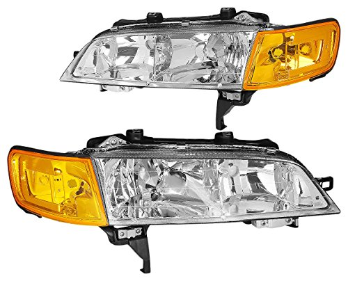 DNAMotoring HLCL-HA94-CH-AM Headlight Assembly, Driver and Passenger Side (94 Accord Headlights Driver Side compare prices)