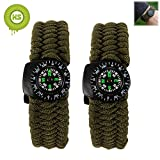 KIWISUNNY Survival Paracord Bracelet with Compass Flint Fire Starter Scraper knife Whistle Emergency kit ,2pcs Green