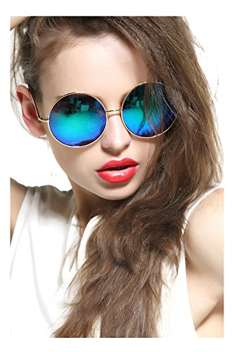 GEELOOK Oversized Round Circle Mirrored Hippie Hipster Sunglasses - Metal - Hippie Sale Glasses For
