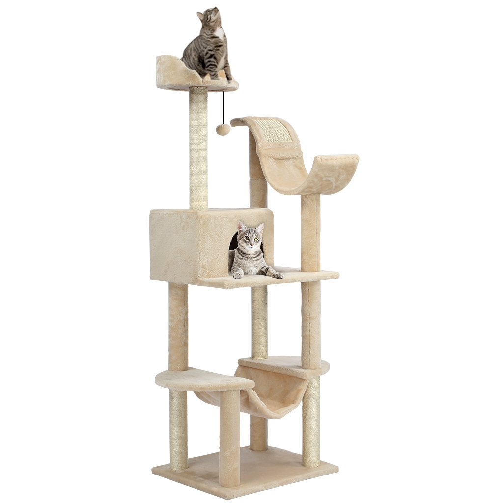 LANGRIA 60.5-Inch Cat Tree with Hammock Multi Level Tower with 4 Scratching Posts 1 Condo 2 Cat Viewing Platforms and 1 Tangling Interactive Cat Toy for Play Time Sleeping Climbing (Beige)