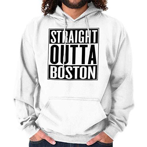 (Straight Outta Boston, MA City Movie Gift Hoodie Sweatshirt White)