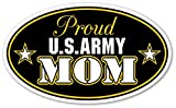 "Proud US Army Mom U.S. Armed Forces Euro Vinyl Bumper Sticker Decal - Ideal For use on Car windows, Bumpers, Walls, Doors, Glass Windows or Any Other Clean Smooth Surfaces 3"" X 5"" (Inches)"
