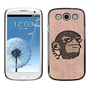 - / Secret Agent Ape Monkey Funny - - Funda Delgada Cubierta Case Cover de Madera / FOR Samsung Galaxy S3 I9300 I9308 I737 / Jordan Colourful Shop/