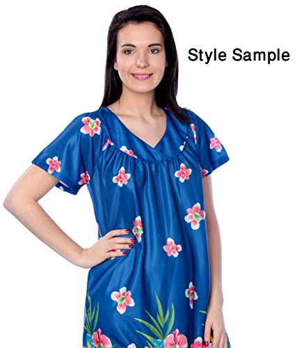 Beverly Rock Women's Short Sleeve Housecoat Floral Duster Nightgown Y18_XU9004 Indigo 2X by Beverly Rock (Image #4)