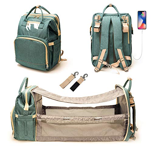 3 In 1 Diaper Bag with USB Charging Port Waterproof Backpack Travel Bassinet with Shading Cloth Baby Changing Station Portable Crib(Green)