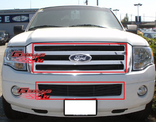 APS Fits 2007-2014 Ford Expedition Black Billet Grille Grill Insert Combo #F67832H
