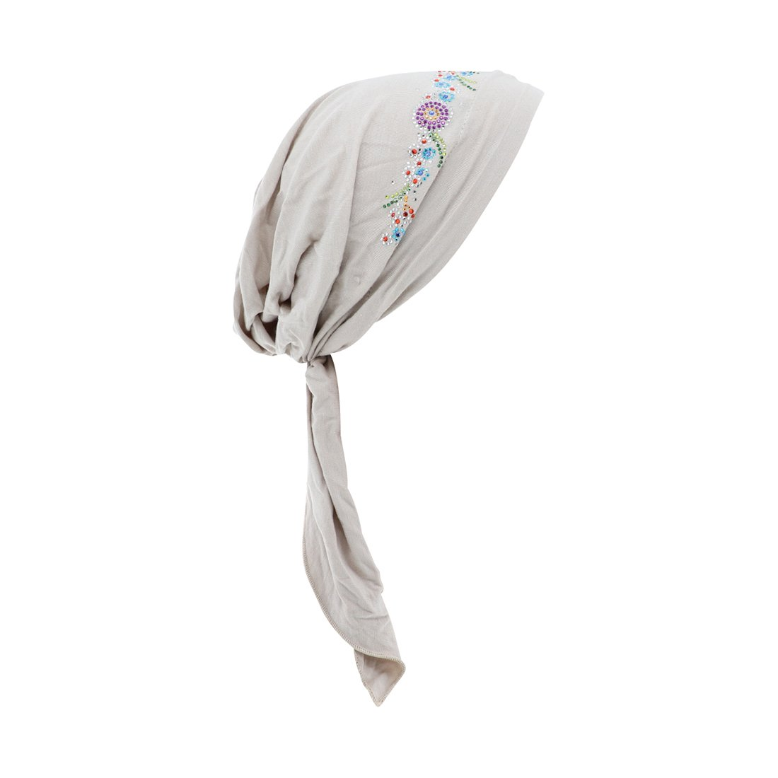 Beige Pretied Headscarf Chemo Cap Modesty with Rhinestone Floral Band