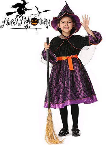 Back To School Theme Party Costume (3PCS Halloween Little Girls Princess Witch Skirt Pumpkin Theme mysterious Cosplay Costume (L(7-9 age), purple))