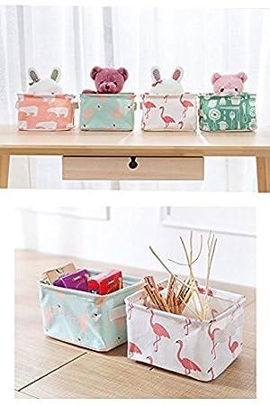 Spielzeug Kleidung Storage-Flamingos Monbedos Baumwolle Leinen Aufbewahrungsbox faltbar Aufbewahrungstasche f/ür Stoff Schublade Baby Stauraum Gr/ö/ße 18/x 18/x 14/cm wei/ß