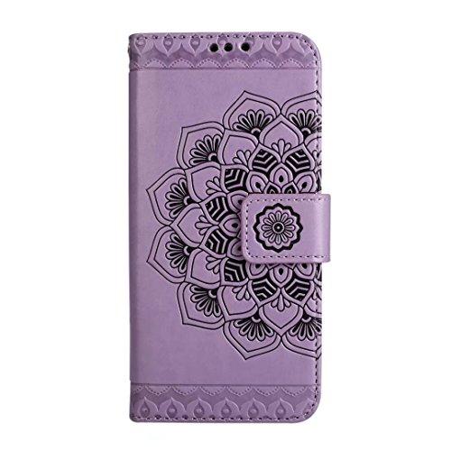 Galaxy S9móvil, cowx Teléfono Móvil para Samsung Galaxy S9Funda Piel Flip Case Carcasa para Samsung Galaxy S9Funda Cover Datura–Lila
