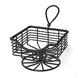 Gourmet Basics by Mikasa 5153173 Rope Metal Napkin Basket, Antique Black